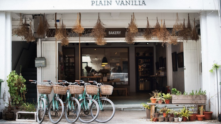 Row of bicycles outside Plain Vanilla in Tiong Bahru